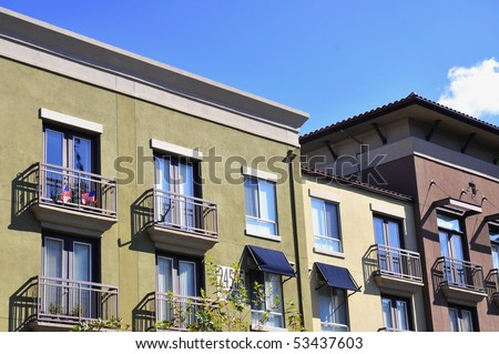 Block of apartments with balconies