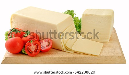 Block of cheese with pieces on wooden board, clipping path,