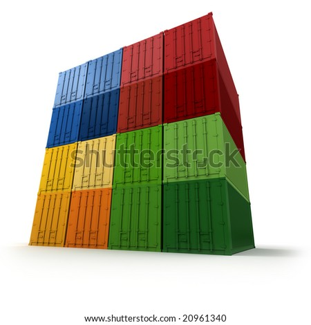Block of  colorful cargo containers neatly stacked