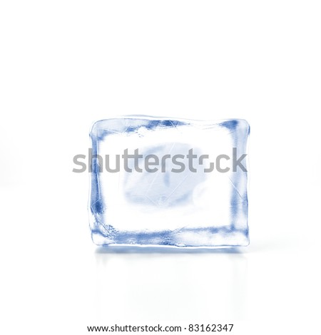 Block of ice on a white background