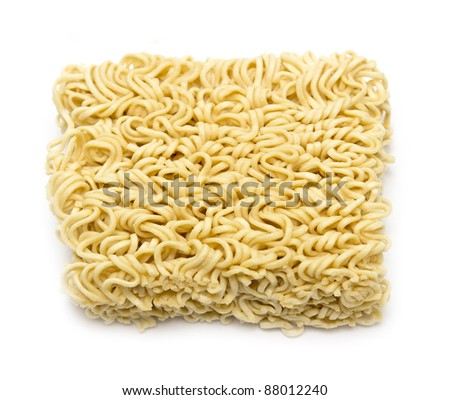 block of Instant noodles on a white background - stock photo
