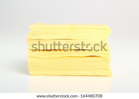 Block of Sliced Cheese - stock photo