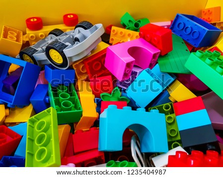 block pieces can be assembled and connected in many ways, to construct objects; vehicles, and buildings. Anything constructed can then be taken apart again, and the pieces used to make other object. #1235404987