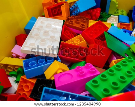 block pieces can be assembled and connected in many ways, to construct objects; vehicles, and buildings. Anything constructed can then be taken apart again, and the pieces used to make other object. #1235404990
