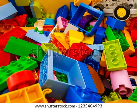 block pieces can be assembled and connected in many ways, to construct objects; vehicles, and buildings. Anything constructed can then be taken apart again, and the pieces used to make other object. #1235404993