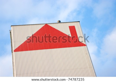 Block with red roof