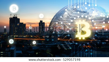 Blockchain , cryptocurrencies , bitcoin and distributed ledger technology concept. Block chain , network connect icons and earth furnished by NASA.