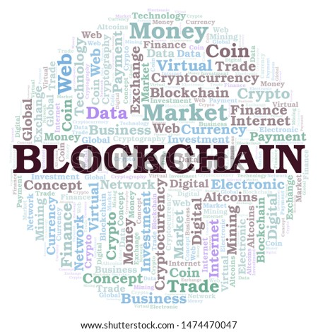 Blockchain cryptocurrency coin word cloud. Word cloud made with text only.