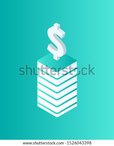 Blockchain dollar currency isolated icon isometric raster. Crypto strategy, money cash on pedestal. Mining and financial digital business strategies