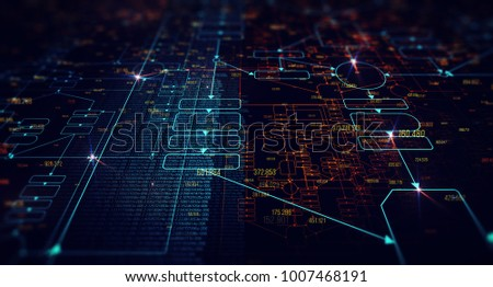 Blockchain network concept , Distributed register technology , Block chain text and computer connection with blue background. 3D Rendering/Block chain network