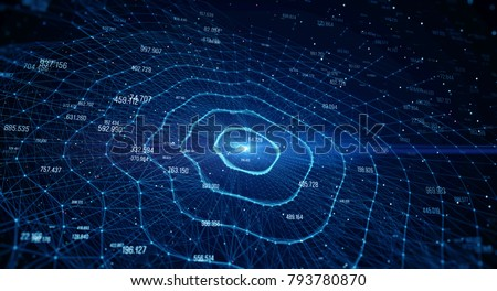 Blockchain network concept , Distributed register technology , Block chain text and computer connection with blue background. 3D Rendering