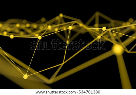 Blockchain network , Machine learning , deep learning and neural networks concept. Yellow Distributed connection atom with black background , 3d rendering