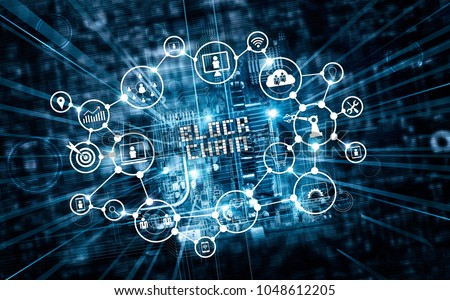 Blockchain technology and network concept. Text and icon communication connection on motherboard microcircuit fast speed background. #1048612205