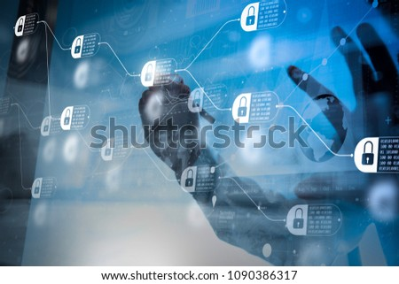 Blockchain technology concept with diagram of chain and encrypted blocks. businessman hand working with modern technology and digital layer effect as business strategy concept