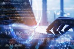Blockchain technology, digital software  development, IoT concept. Coding programmer, software developer working on smart phone, laptop with binary, computer code, big data on technology background
