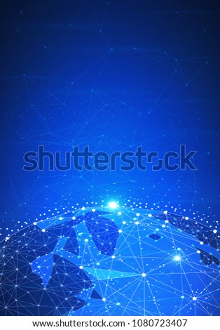 Blockchain technology futuristic hud background with world globe and blockchain polygon peer to peer network. Global cryptocurrency fintech business banner concept. Low poly design. Vertical layout.