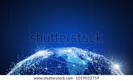 Blockchain technology futuristic hud background with world map and blockchain peer to peer network. Global cryptocurrency blockchain business banner concept.