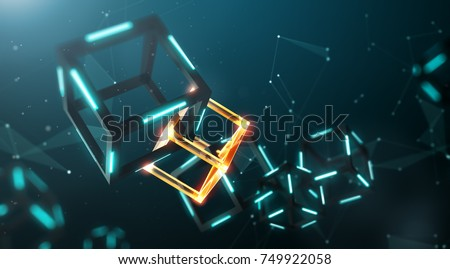 Blockchain technology with abstract background - 3D Rendering