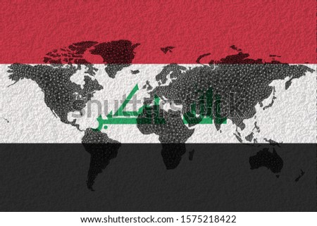 Blockchain world map on the background of the flag of Iraq and cracks. Iraq cryptocurrency concept.