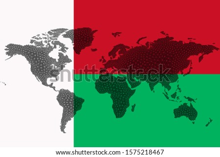 Blockchain world map on the background of the flag of Madagascar and cracks. Madagascar cryptocurrency concept.