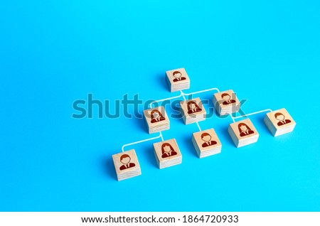 Blocks connected by lines form a hierarchical pyramid of the company. Classic conformism system of the leader-subordinate. Effective organization of business and public organizations and institutions Foto stock ©