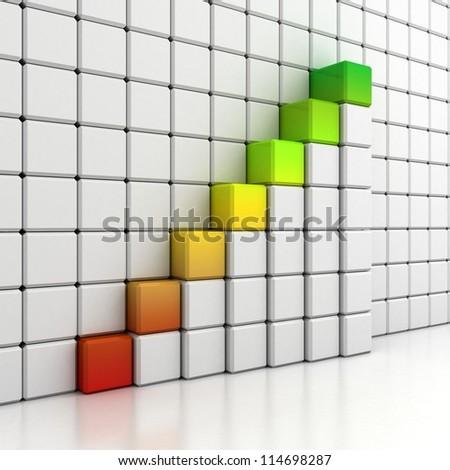 blocks growing bar diagram on white wall