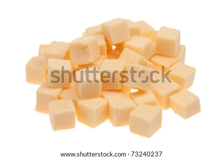 blocks of cheese isolated on a white background