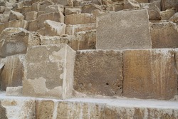 Blocks of Great Pyramid of Giza, also known as Pyramid of Khufu or Pyramid of Cheops in Egypt