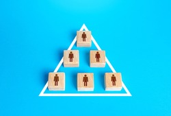 Blocks of people figurine are united into one structure organization. Combining efforts to achieve goal. Business team formation. Political Party. Cooperation of a society without a leader. Autonomy