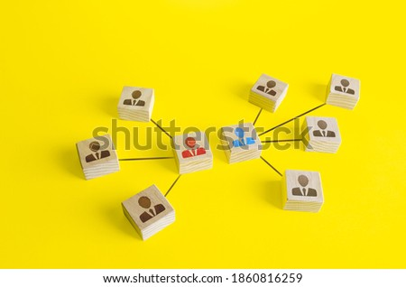Blocks of two team leaders compete with each other. Competition, conflict resolution. Teamwork, goal achievement with a employees group. Make competition between departments to increase productivity. Foto stock ©