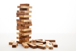 Blocks of wood isolated on white background,Strategy game as a business plan for team  work