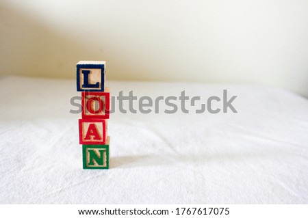 Blocks representing personal loan, home loan, education loan, bank loans, secured and unsecured loans