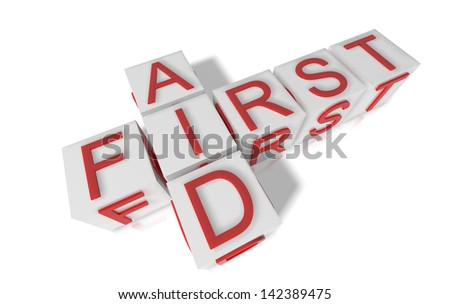 Blocks spelling first aid on white background