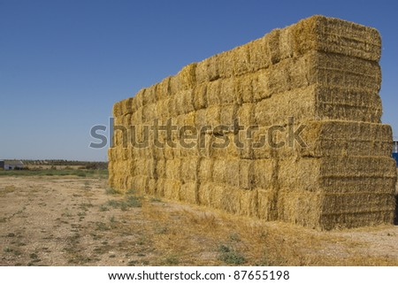 Blocks stacked bales of straw for livestock