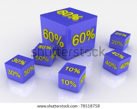 Blocks with a percent sign on a white background - stock photo