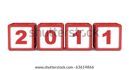 blocks with 2011 new year date isolated on white