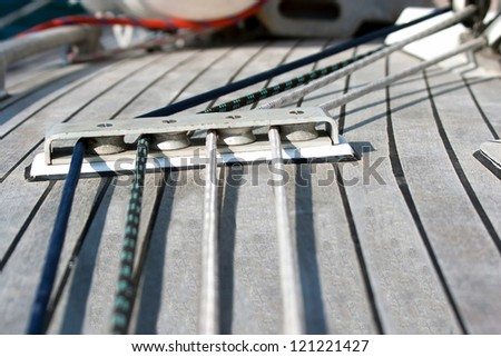 Blocks with rope on sailing boat in the sea