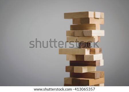 Blocks wood game (jenga) with copy space.