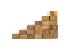 Blocks wood game stacking as step stair  isolated on white background with clipping path