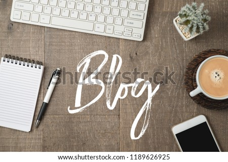 Blog and information website concept. Workplace  background with text. View from above Foto stock ©