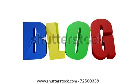 Blog colorful letters isolated on white.