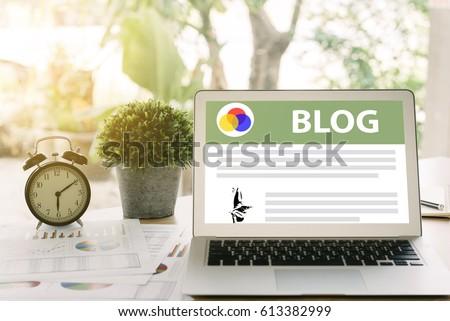 Blog concept, Laptops social media blogs on the desk. #613382999