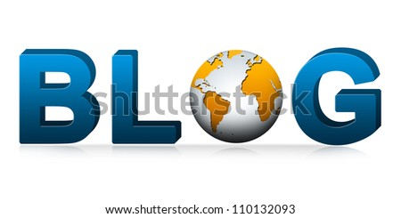 Blog Concept, Present With Globe Replacing Letter O in Blog Text Isolated on White Background
