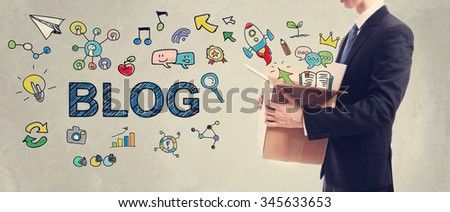 Blog concept with businessman holding a cardboard box #345633653