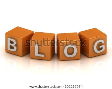 Blog cubes of orange 3d render illustration