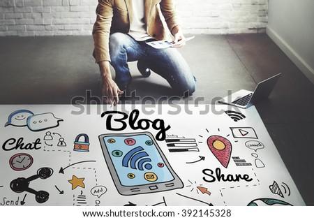 Blog Homepage Content Social Media Online Concept #392145328