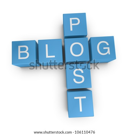Blog post crossword on white background, 3D rendered illustration
