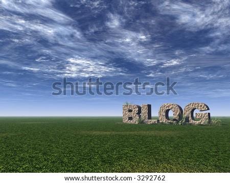 blog rock on green field - 3d illustration - stock photo