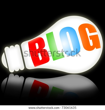 Blog, social media concept with bright electric lamp vs black background