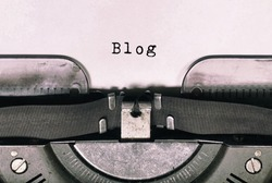 Blog text on vintage typewriter - retro styled